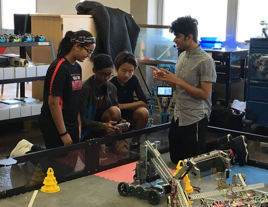 students testing our robotics at Central High School