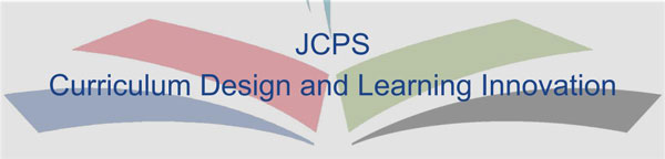 Curriculum Design & Learning Innovations text with j c p s logo in background