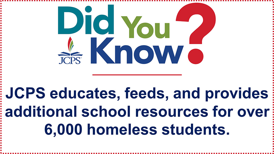 DYK Homeless Students: JCPS educates, feeds, and provides additional school resources for over 6,000 homeless students.