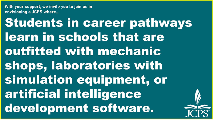 With your support, we invite you to join us in envisioning a JCPS where… Students in career pathways learn in schools that are outfitted with mechanic shops, laboratories with simulation equipment, or artificial intelligence development software.