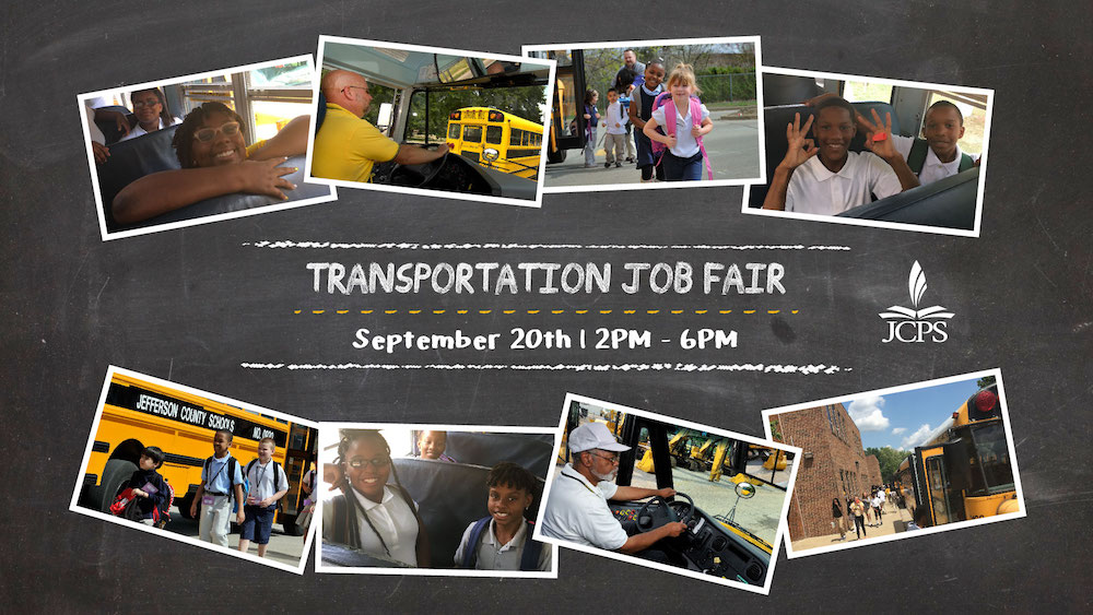 Transportation Job Fair poster with photos of children on buses and buss drivers behind the wheel