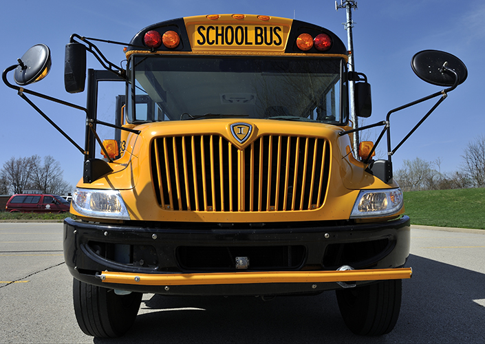 Front of large yellow school bus