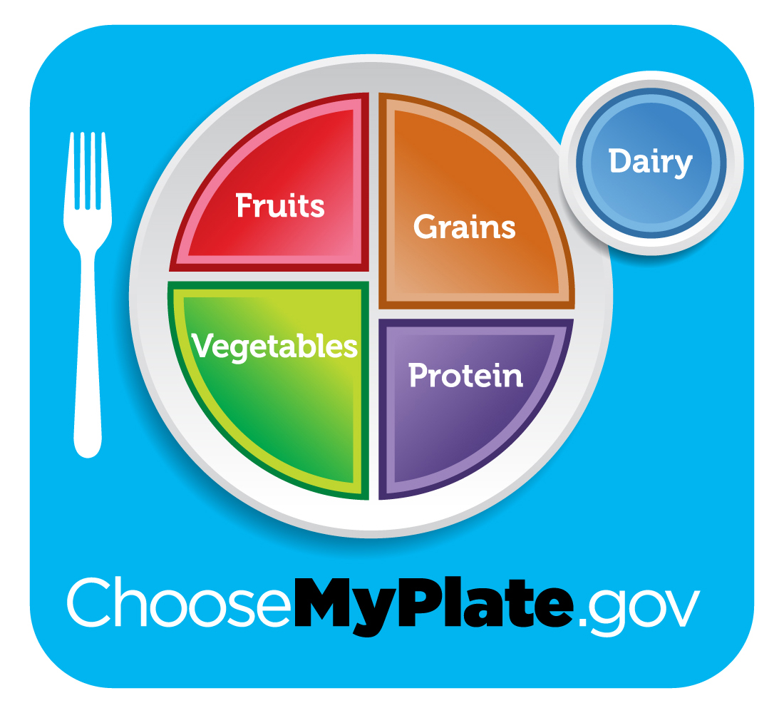 Picture of My Tray graphic with fruits, vegetables, protein, grains, and dairy sections